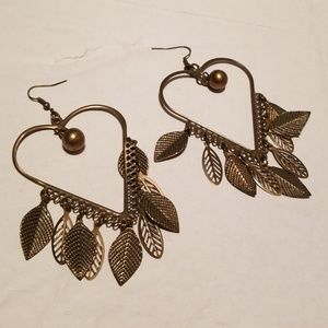 Heart Earrings with Leafs